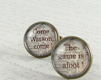 Unique Literary Cufflinks - Sherlock Cuff Links - The Game Is Afoot - Christmas Gift For Him - Sherlock Fan Gift - Sherlock Holmes Gift