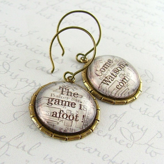 Sherlock Holmes Earrings - London Map Baker Street - Come, Watson, come. The game is afoot.