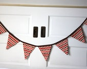 Reusable fabric holiday or party pennant banner- berry dottie