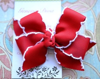 Red with White Crochet Edge Classic Diva Bow