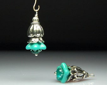 Vintage Style Bead Dangles Turquoise Glass Flowers Pair G121