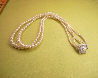 Vintage 2 strand Pearl necklace Rhinestones clasp Japan never worn ivory graduated Wedding