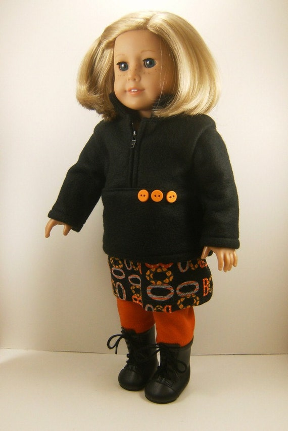 REDUCED Fits American Girl Doll Halloween Zip Pullover Skirt Leggings