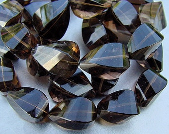 Destash...Smokey Quartz Faceted Length Drilled Twist Step Cut Briolette Drop Beads, 7 beads demi strand, 73ct weight