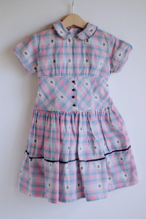 Vintage 1950's Little Girl Dress - Pink Blue Plaid (size 4-5)