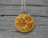 RESERVED embroidered necklace in mustard yellow and burnt orange. modern felt necklace. splurge.