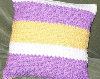 Orchid and Honey Pillow - ready to ship - crocheted