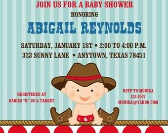Little Cowboy Baby Shower or Birthday Invitations