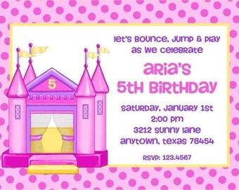 Moon Jump, Bounce House Birthday Invitations