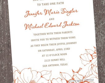 Orange Floral Invitations For Any Occasion