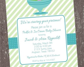 Pickles and Ice Cream Blue Baby Shower Invitation - 1.00 each with envelope
