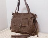 New Year SALE - 20% OFF EZ in Waxed Canvas Brown / messenger / diaper bag / Shoulder Bag / Sling Bag / School bag / laptop / tote / women