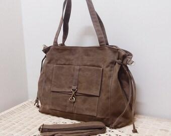 Halloween SALE - 20% OFF EZ in Waxed Canvas Brown / diaper bag / Shoulder Bag / Sling / School bag / laptop / tote / women