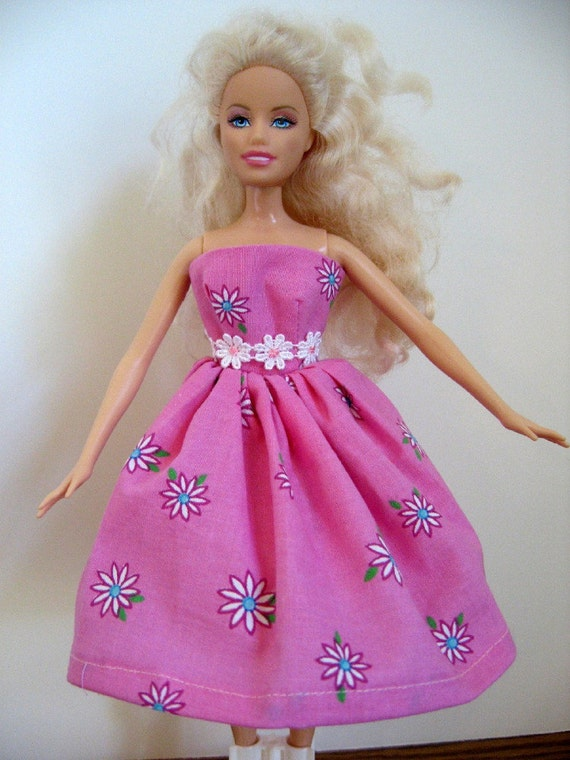 Barbie Doll Dress - Pink With Daisies