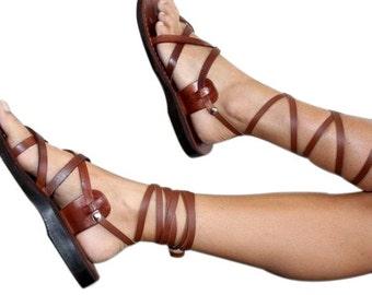 Brown Gladiator Leather Sandals for Men & Women (Triple Design) - Handmade Unisex Sandals, Jesus Sandals, Genuine Leather Sandals