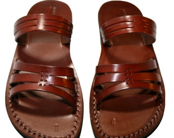 Brown Sting Leather Sandals For Men & Women - Handmade Sandals, Leather Flip Flops, Jesus Sandals, Unisex Sandals, Brown Sandals
