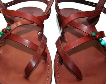 Brown Decor Triple Leather Sandals For Men & Women - Handmade Unisex Sandals, Flip Flop Sandals, Jesus Sandals, Genuine Leather Sandals