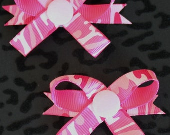 Pink Camo Snap N Go Dog Hair Bows - Set of 2 or Custom Single
