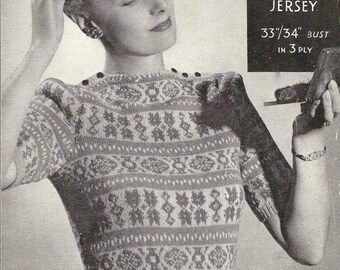 1940's Fair Isle Jersey Vintage Knitting Pattern 390