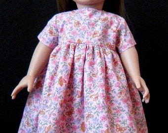 18 in Doll Short Sleeve Dress - Pink Floral Print