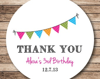 Personalized Party Bunting Thank You Stickers, Labels or Tags