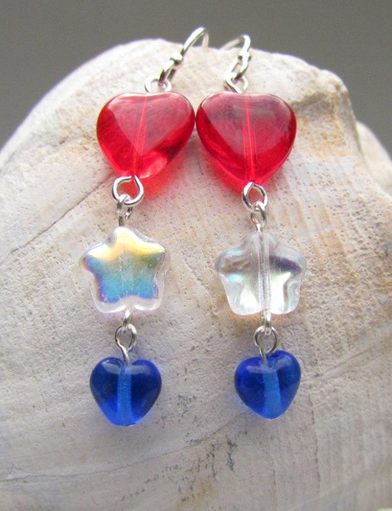 4th of july earrings fourth of july earrings handmade white and blue 9484