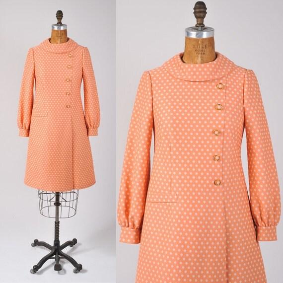 1960's Peach Polka Dot Dress - Creamsicle Orange Back to School Dress