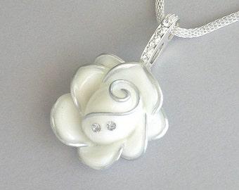 White flower necklace, Swarovski crystal necklace, white mesh chain, statement necklace, white rose necklace, bridal