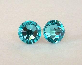 Light Turquoise crystal stud earrings, Swarovski crystal posts, 7mm turquoise crystal studs