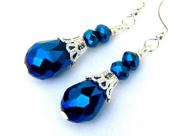Dainty indigo blue earrings, sparkly faceted sapphire blue metallic crystal