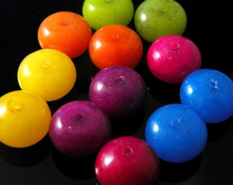 10 pc- Large Smooth Mixed Color Rondelle Jade Beads, 12x8mm