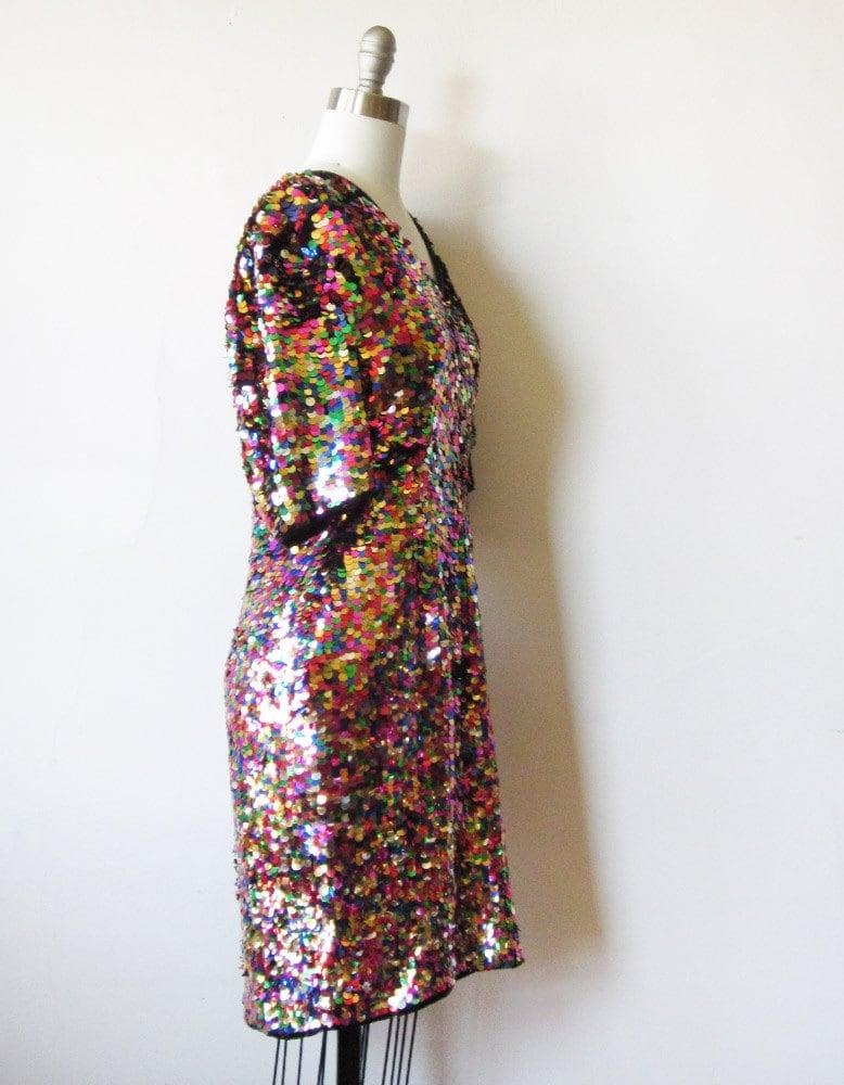 Rainbow Sequin Dress Vintage 1980s Rainbow Sequin Party