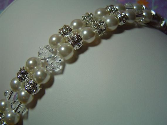 Swarovski pearl crystal and rhinestone bridal bracelet