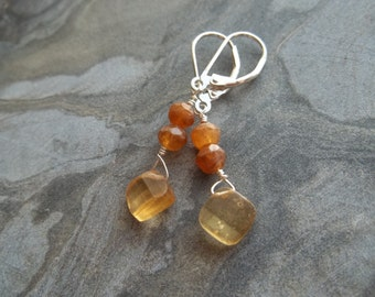 Shaded Hessonite Garnet Leverback Earrings