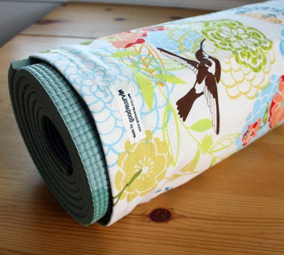 Yoga Mat Bag in Mod Floral and Hummingbirds - MADE TO ORDER