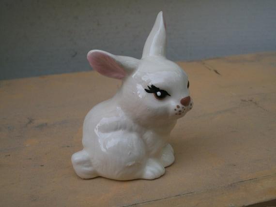 Vintage Rabbit Figurine Ceramic Small White Kitsch Retro