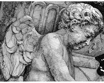 Original Pen and Ink Drawing Reproduction of Angel on Note Cards Stationery