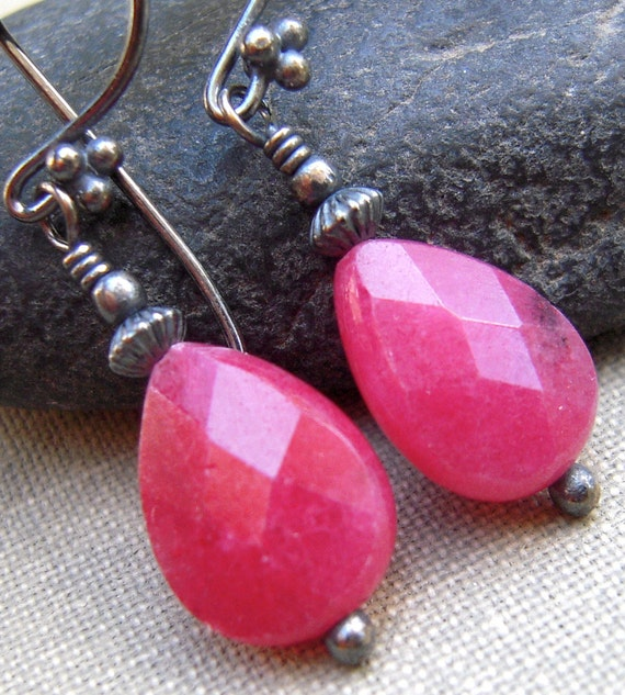 Rose Jade Earrings, With Sterling Silver Stone Oxidized Sterling Dangle