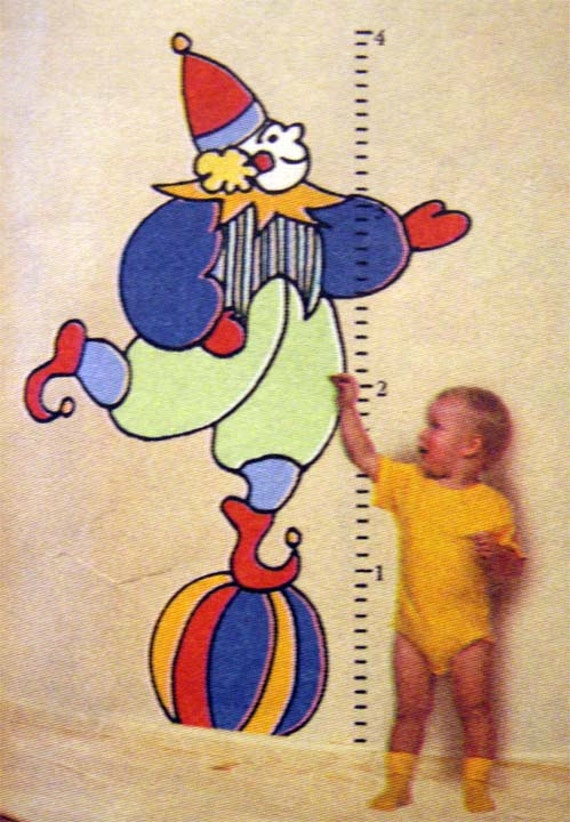 Growth Chart Height Pattern CLOWN Wall Design to Make Transfer and Instructions EASY Paint by Number Color 48 x 38 Inches