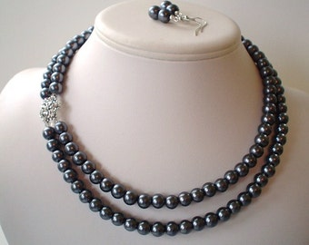 Two Strand Dark Charcoal Grey Pearl with Rhinestone Flower Pendant Beaded Necklace and Earring Set    Great Brides or Bridesmaid Gifts