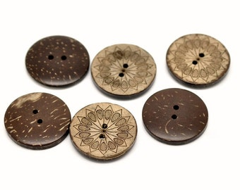 6 sunflower pattern Coconut Shell Buttons 28mm - Natural and Eco Friendly round sewing button  (BC605C)