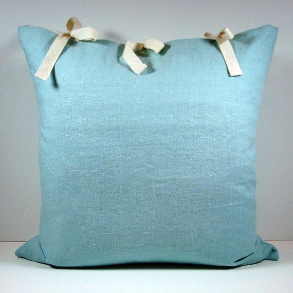 "Sea Blue Linen Pillow Cover / 20""x20"" / Free Shipping"