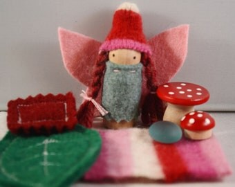 Little Wintry Fairy Playset in a Cheery Red Bag