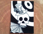 Skull ACEO print top hat skull no. 5
