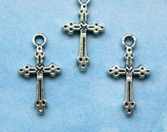 20 cross charms with dots and lines, silver tone, 21mm