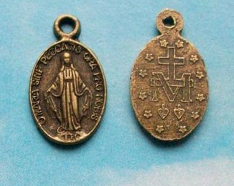 5 tiny Miraculous medals, medallion for devotion to Virgin Mary, bronze tone, 13mm