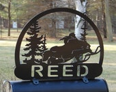Snowmobile MAILBOX TOPPER Metal Address Sign Sportsman Snow Winter Cabin