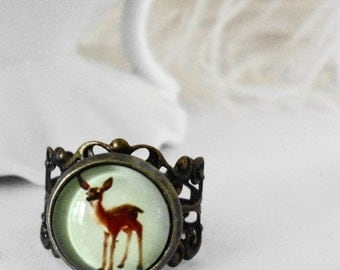Free Shipping Rings Deer Cameo Filigree Green Handmade Glass Jewel shabby chic old hollywood retro bridal gilr romantic Adjustable