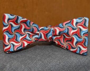 Metallic, Red, White and Blue Pinwheels  Bow tie