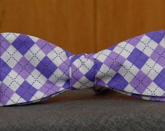 Purple and Purple Argyle  Bow Tie